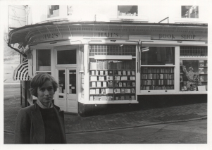 Original photograph of Hall's Bookshop and Sabrina Izzard, proprietor, February 1984.