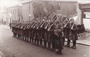 Postcard of the Liverpool Scottish at Tunbridge Wells November 1914.