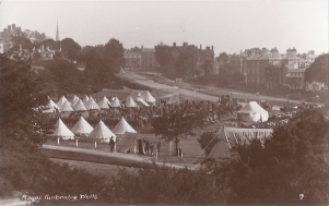 Postcard of Royal Engineers of the Southern Division on Tunbridge Wells Common September 1914.