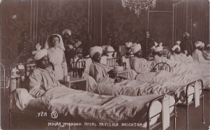 Postcard of wounded Indian soldiers in the Royal Pavilion, Brighton, circa 1915.
