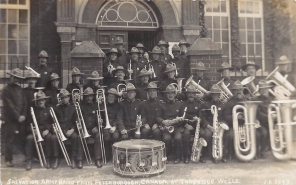 Postcard of the Salvation Army Band from Peterborough, Canada at Tunbridge Wells, June 1914.