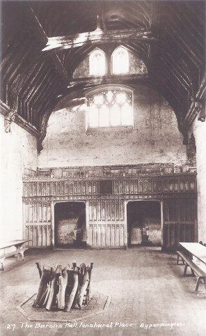 Postcard of the Baron's Hall, Penshurst Place.
